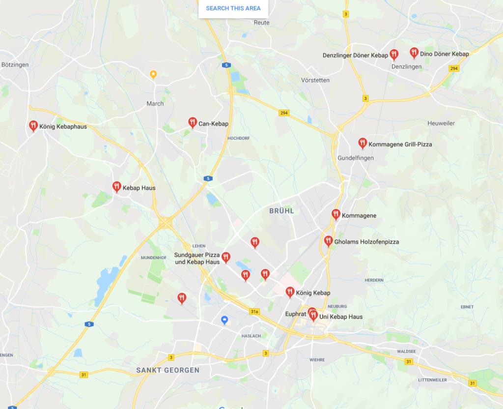 Bei Google gelistete Döner Kebab Stände in und um Freiburg